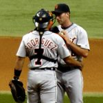 Ivan Rodgriguez talking with pitcher for the Tigers, July 11, 2005. Photo by Googie Man 18:35, 11 July 2005